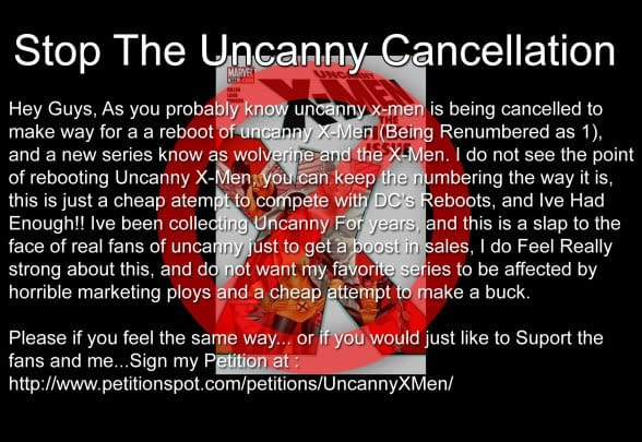 Will You Sign The Petition Against The Uncanny X-Relaunch? If So, Why?