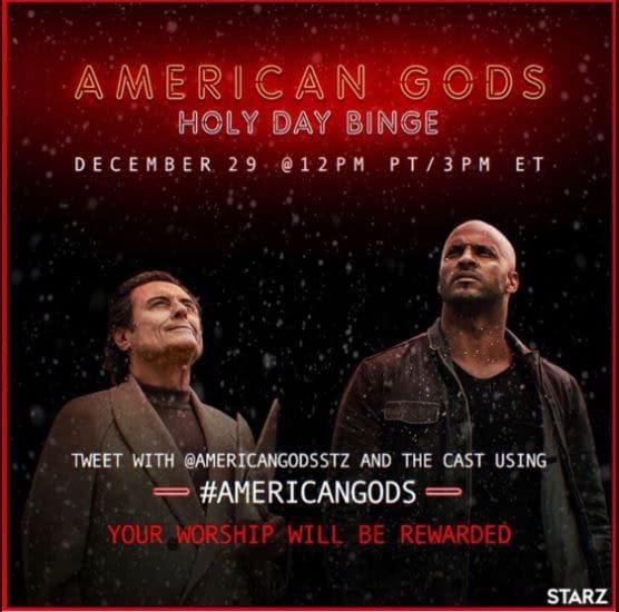 "American Gods: Starz Releases Season 1 Live-Tweet ""Holy Day Binge"" Schedule"