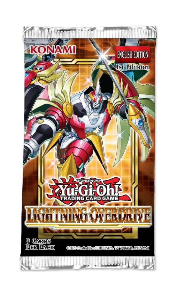 A look at the pack art for the Yu-Gi-Oh! TCG booster set, Lightning Overdrive. Courtesy of Konami.