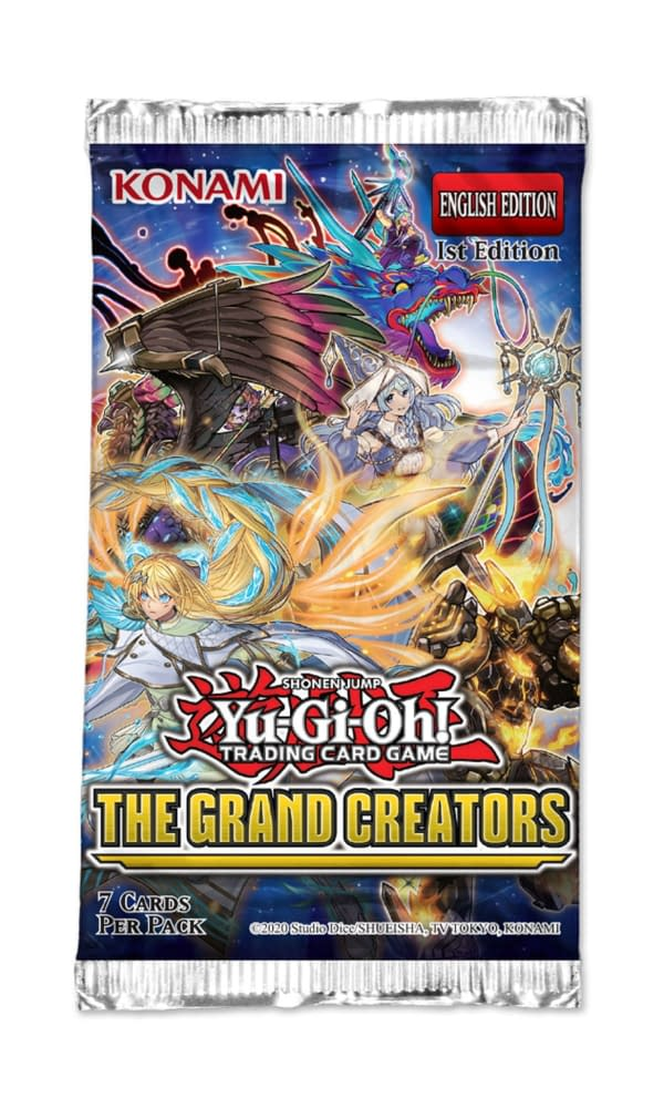 A look at The Grand Creators pack for Yu-Gi-Oh! TCG, courtesy of Konami.