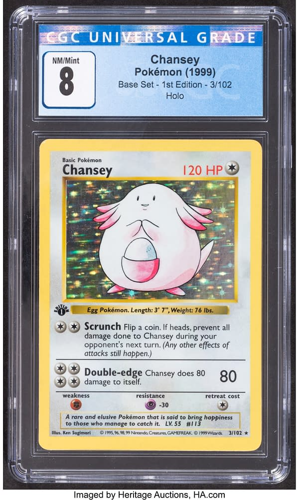 The front face of the 1st Edition shadowless Base Set copy of Chansey from the Pokémon TCG. Currently available on auction at Heritage Auctions' website.