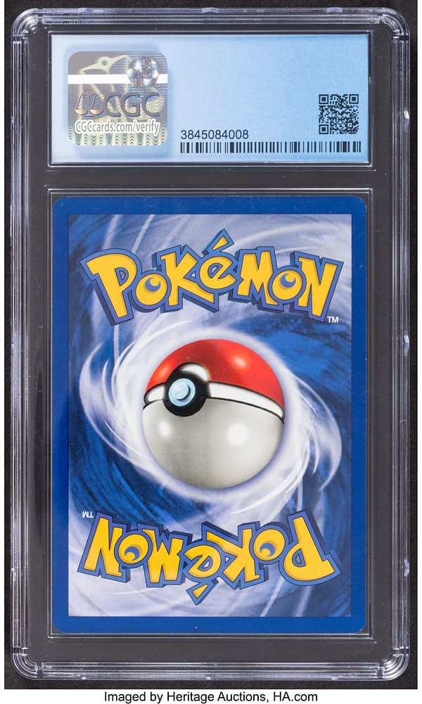 The back face of the 1st Edition shadowless Base Set copy of Chansey from the Pokémon TCG. Currently available on auction at Heritage Auctions' website.