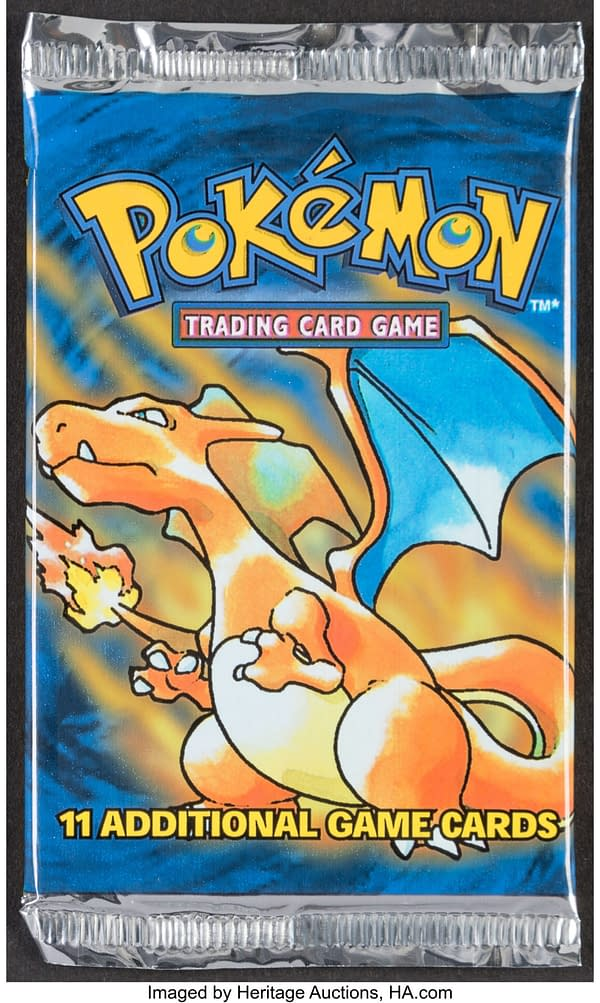 An example of one of the possible boosters available in this box break.  The Pokémon TCG Base Set Unlimited booster box is sealed, so please note that this style of pack is not guaranteed.  Currently run by Heritage Auctions.