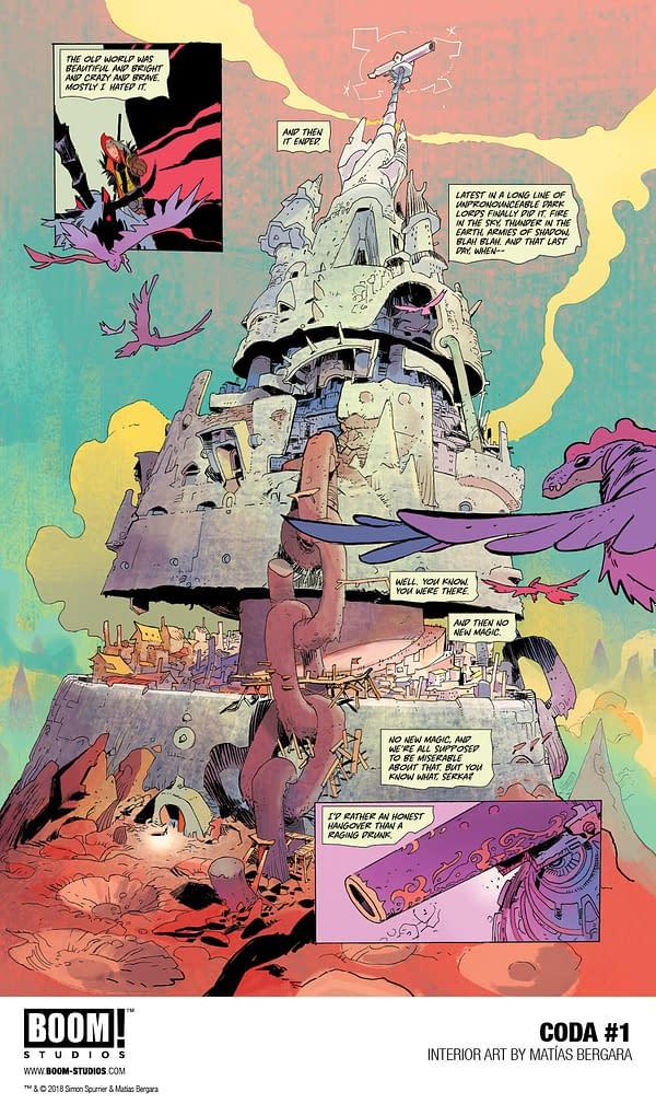 BOOM! Studios Previews 9 Pages from Simon Spurrier and Matías Bergara's Coda