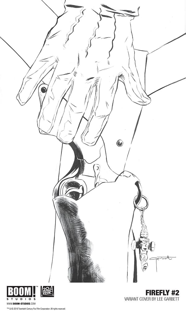 Lee Garbett Draws a Hand and a Gun for Firefly #2 Cover