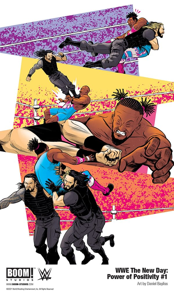Art from WWE The New Day: Power of Positivity by Evan Narcisse, Austin Walker, and Daniel Bayliss.