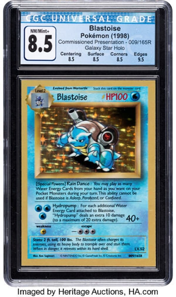 """The one-of-a-kind, blank-backed Blastoise Holofoil """"presentation"""" test print, used by Wizards of the Coast to showcase their new Pokémon card game, and auctioned for a record price at Heritage Auctions."""