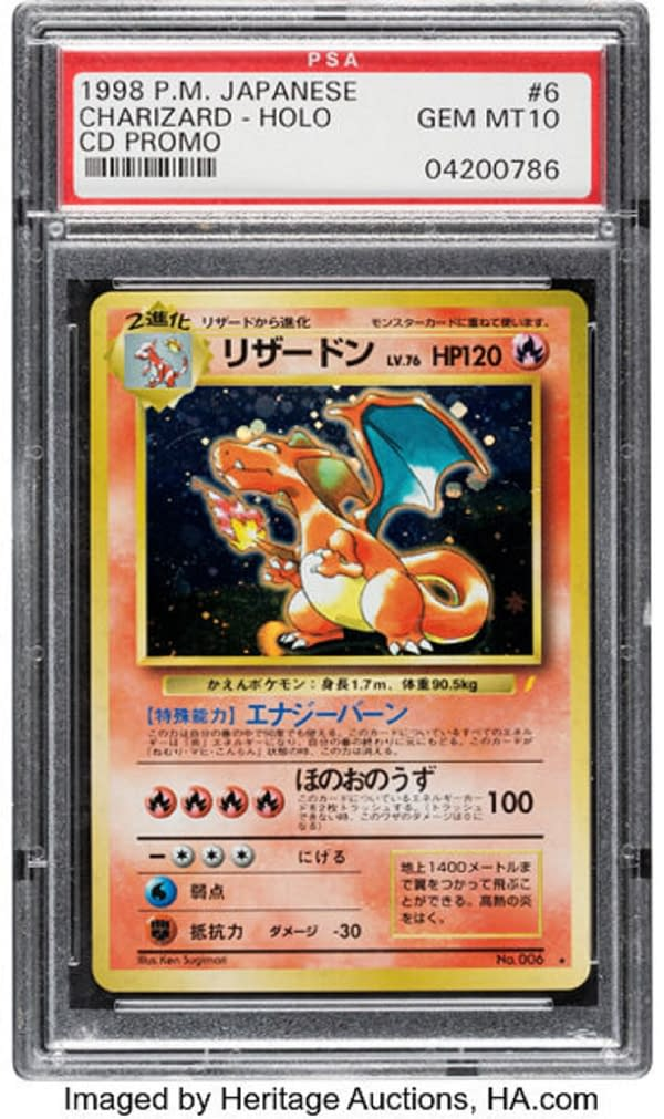 The front face of the Japanese promo Charizard card from the Pokémon TCG that's currently up for auction at Heritage Auctions. It is Gem Mint with a grade of a perfect 10, and features art by illustrator Ken Sugimori!