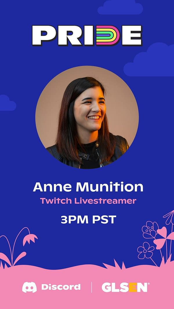 Catch Anne chatting about what Pride means to her today at 3pm, courtesy of Discord.