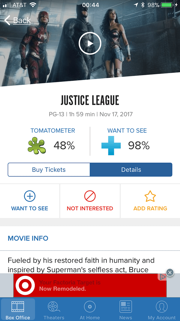 Justice League's Secret Rotten Tomatoes Score Is Reportedly 48%