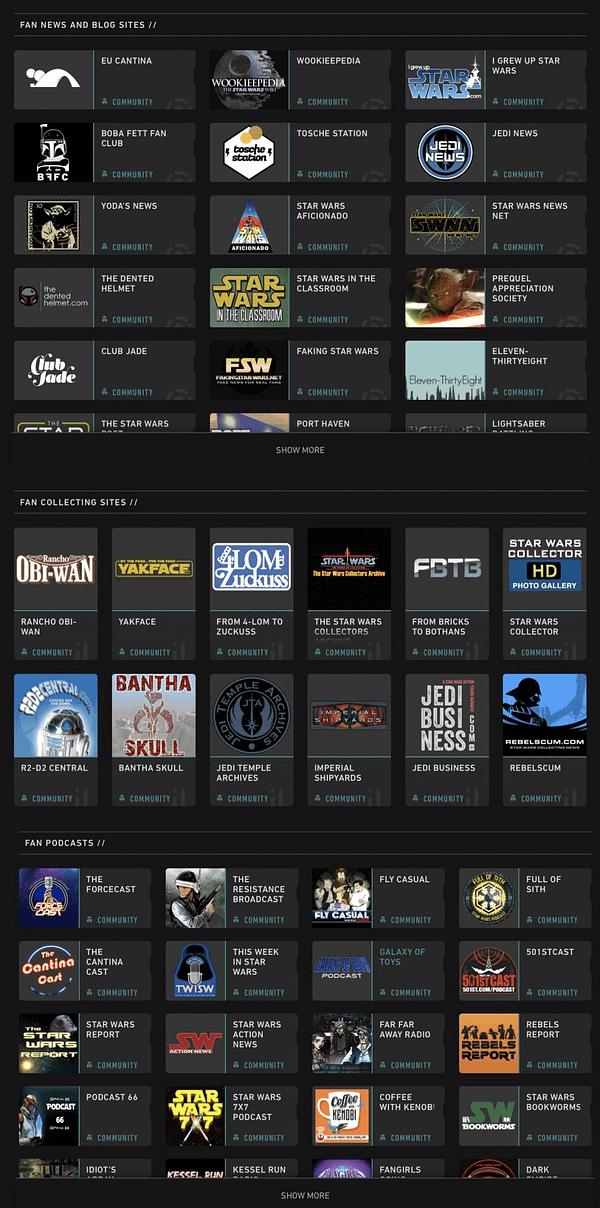 Lucasfilm Star Wars Website Old Screenshot