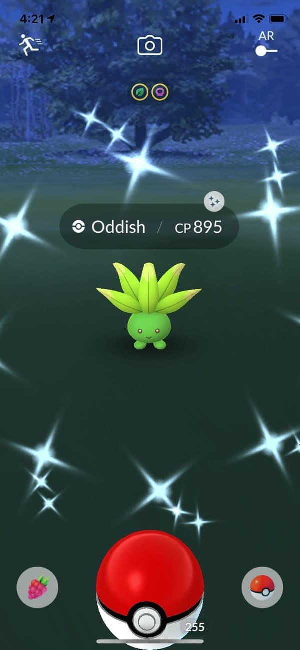 Shiny Oddish in Pokémon GO. Credit: Theo Dwyer's Pokémon account.