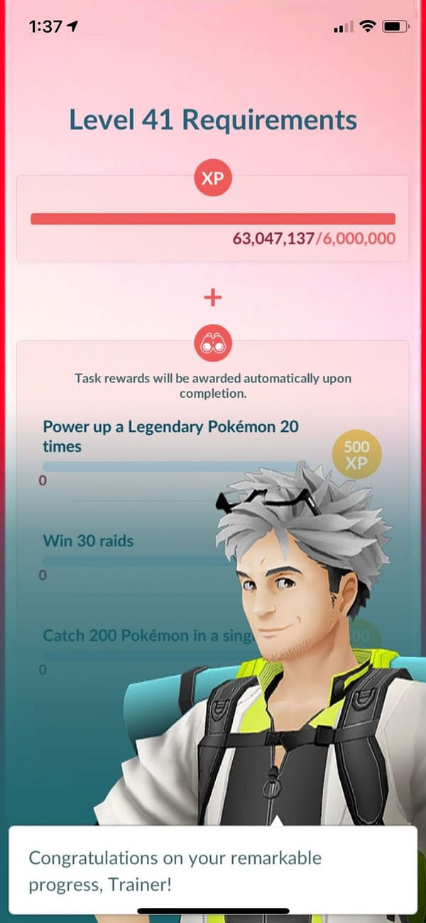 Level 41 Requirements in Pokémon GO. Credit: Niantic