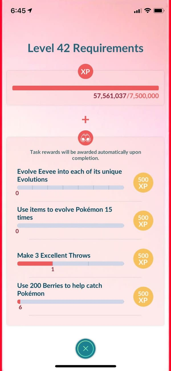 Level 42 requirements in Pokémon GO. Credit: Niantic