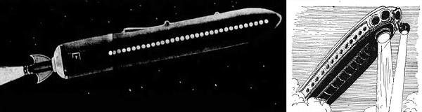 "LEFT: Dec. 1927 Newspaper Illustration of Goddard ""inter-planetary rocket"" design. RIGHT: Frank R. Paul illustration from Amazing Stories Vol. 3 #5 Armageddon 2419 A.D."