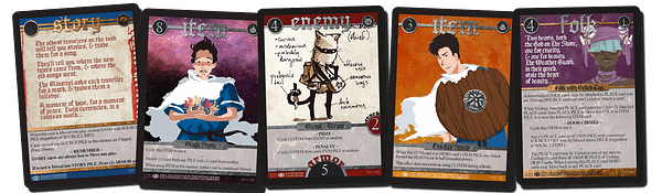 An example of a few cards from Spell Saga. While we don't know what they signify yet, that's part of the allure.