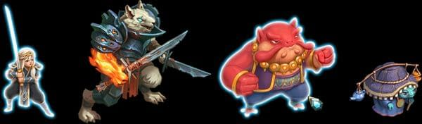 The player characters of indie roguelike deckbuilder Roguebook; from left to right: Sharra, Seifer, Sorocco, and Aurora.