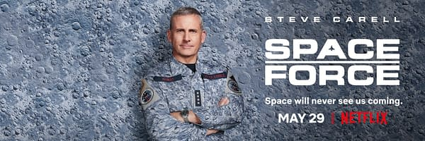 Steve Carell stars in Space Force, courtesy of Netflix.