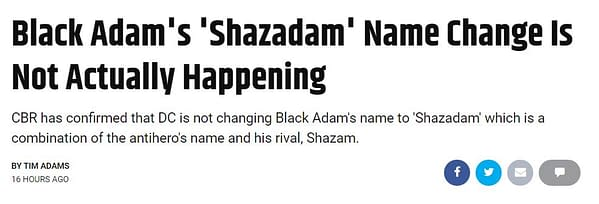 So Why Did We Think DC Comics Was Calling Black Adam Shazadam Anyway?
