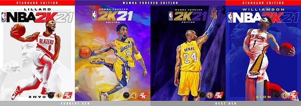 All four covers of NBA 2K21, courtesy of 2K Games.