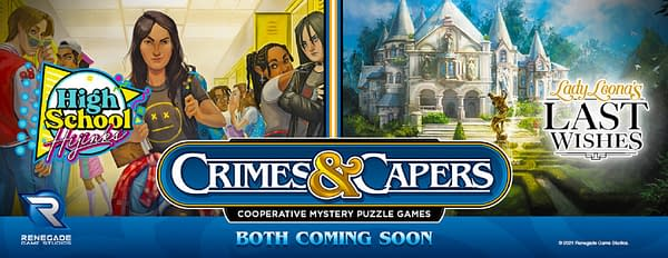 The key art for the two Crimes & Capers cooperative mystery games announced by Renegade Games Studios.