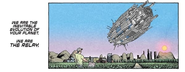 city sized ship hovers over a farm and workers