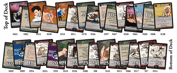 The order in which the Spell Saga quickstart guide instructs that players should stack the deck for an introduction game.