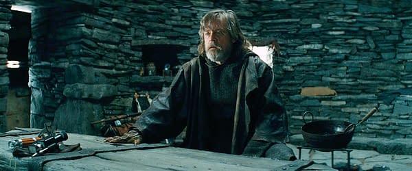 Mark Hamill as Luke Skywalker in Star Wars: The Last Jedi (2017). Image courtesy of Lucasfilm