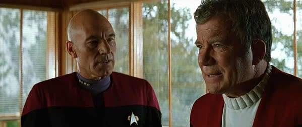 "Sir Patrick Stewart and William Shatner in ""Star Trek: Generations"""