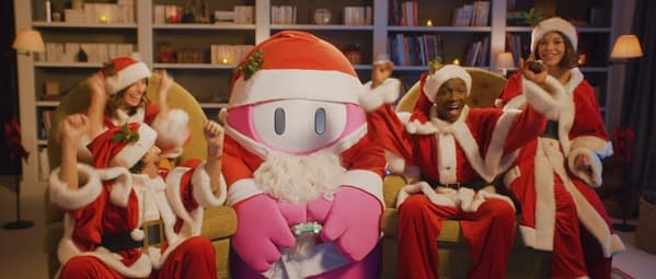 'Tis the Season, for you and your family in matching Santa outfits to play a video game with a somehow sentient jellybean. Courtesy of Devolver Digital.