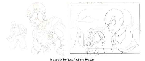 Dragon Ball Z Tien Shinhan & Krillin artwork. Credit: Herittage
