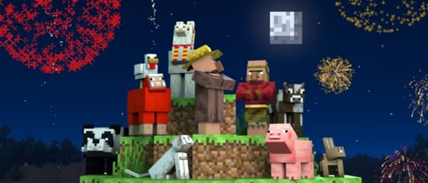 Ohh! Look at all the fireworks you wish you could harvest into something. Courtesy of Mojang.