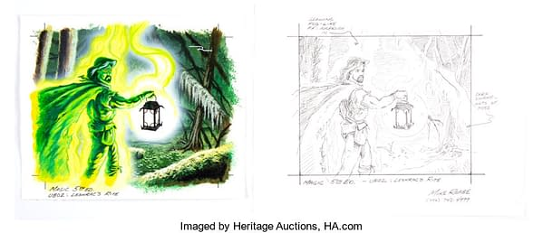 The original art for Leshrac's Rite from Magic: The Gathering, complete with a sketch accompanying it. This artwork is up for auction at Heritage Auctions right now!