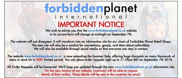 Forbidden Planet International Closes Online Store