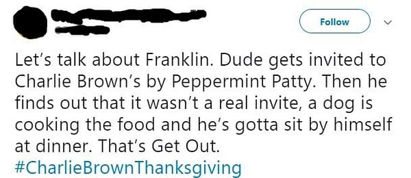 Was A Charlie Brown Thanksgiving a 'Get Out' Warning for Franklin?