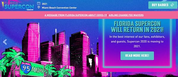Florida Supercon Cancels Miami Show on July 4th 2020, Reschedules For 2021.