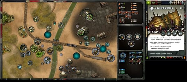 A game of The Other Side between a King's Empire player and a Gibbering Hordes player, played over VASSAL.