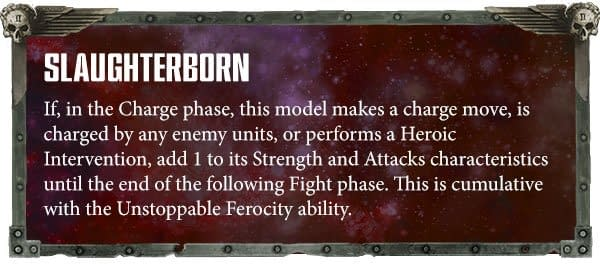 The new Slaughterborn ability for Exalted Bloodthirsters of Khorne, usable in games of Warhammer 40,000.