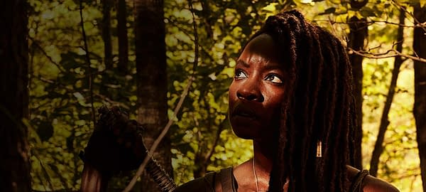 Michonne during her final season on The Walking Dead, courtesy of AMC.