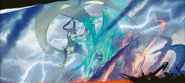 The full art for Crux of Fate from the Fate Reforged expansion set for Magic: The Gathering. Here, illustrated by Michael Komarck.