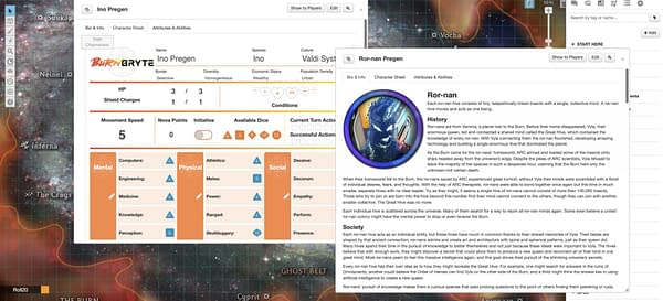 A screenshot from Roll20's first original role-playing game Burn Bryte, featuring a pre-generated set of character sheets in different windows.