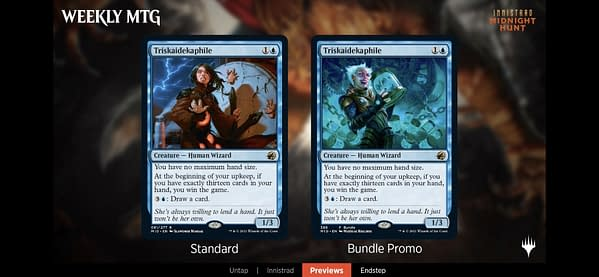 Triskedekaiphile, the Bundle promo from Innistrad: Midnight Hunt, the upcoming expansion set for Magic: The Gathering.