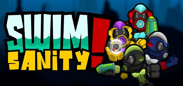 Key art for Swimsanity!, an underwater indie shooter game developed by Decoy Games.