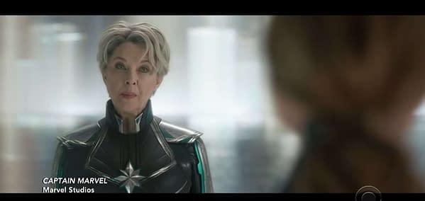 Annette Bening Sizes Up 'Captain Marvel' in New Clip