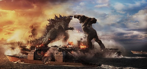 Copyright: © 2021 LEGENDARY AND WARNER BROS. ENTERTAINMENT INC. ALL RIGHTS RESERVED. GODZILLA TM & © TOHO CO., LTD. Photo Credit: Courtesy of Warner Bros. Pictures and Legendary Pictures. Caption: (L-r) GODZILLA battles KONG in Warner Bros. Pictures' and Legendary Pictures' action adventure