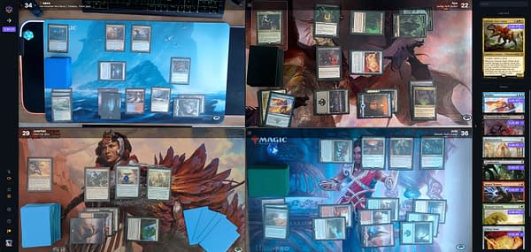 A game of Commander being played over Magic: The Gathering's Spelltable webcam interface.