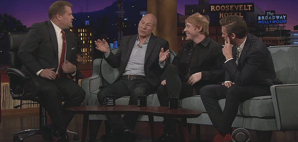 Patrick Stewart and Dan Stevens on James Corden