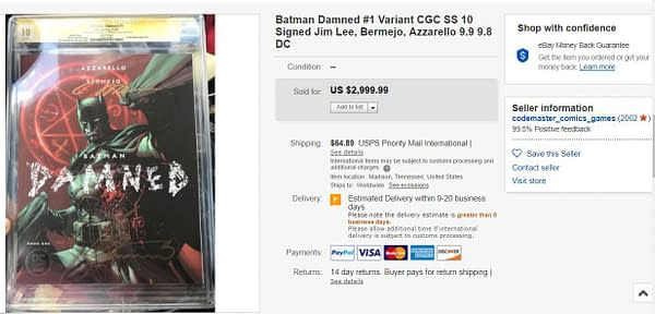 Batman Damned Now Sells For $2500 on eBay