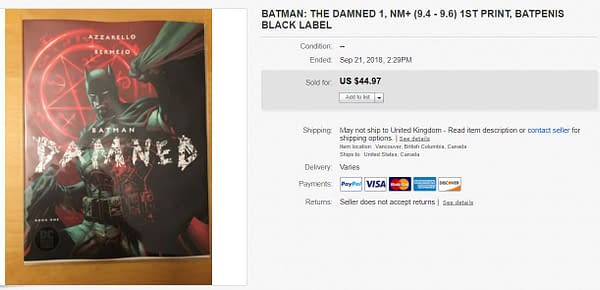 Holy Batpenis – Batman: Damned #1 is now a $45 Book on eBay