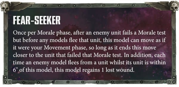 The Fear-Seeker ability for Exalted Keepers of Secrets, usable in Warhammer 40,000.